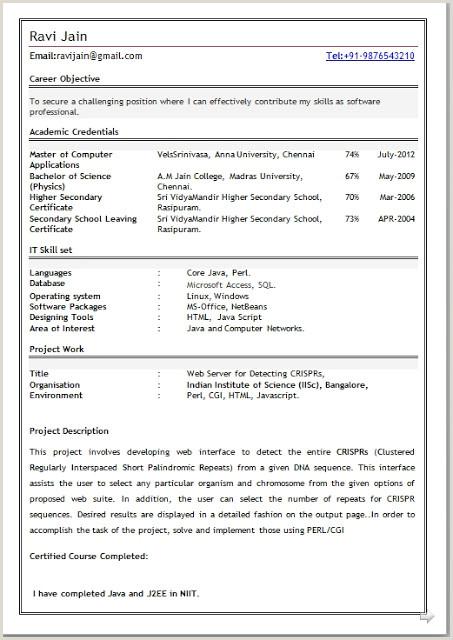 Fresher Resume format for Java 77 Java Freshers Resume Freshers Mca Resume Like Core