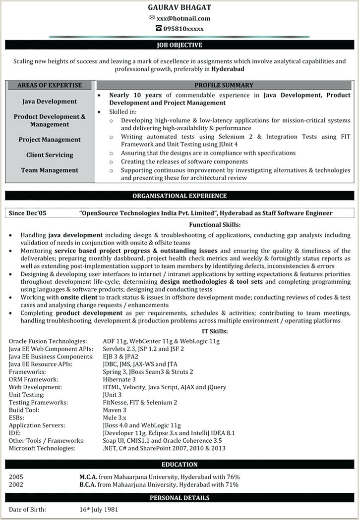 Fresher Resume format for Java Free Sample Resumes for Freshers – Growthnotes