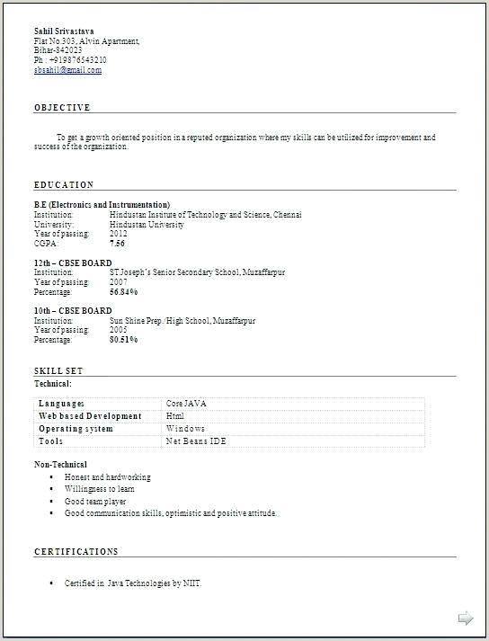 Fresher Resume format for Java Pdf Resume format – Paknts