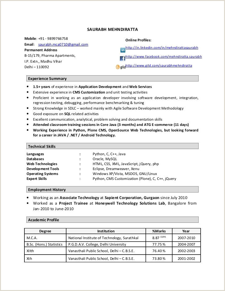 Fresher Resume format for Java Resume format 1 Year Experienced software Engineer
