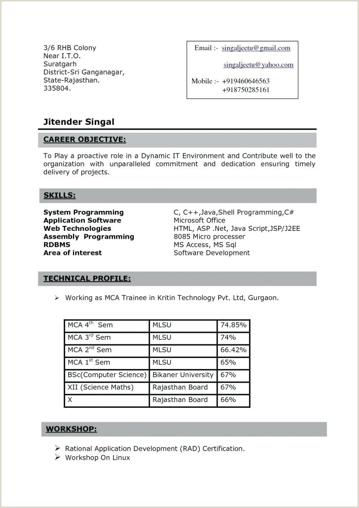 Fresher Resume format for Java Simple Resume format for Fresher Filename Template