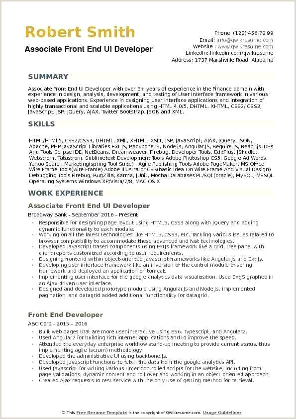 Fresher Resume format for Java Web Developer Resume Template Download Free Specialization C
