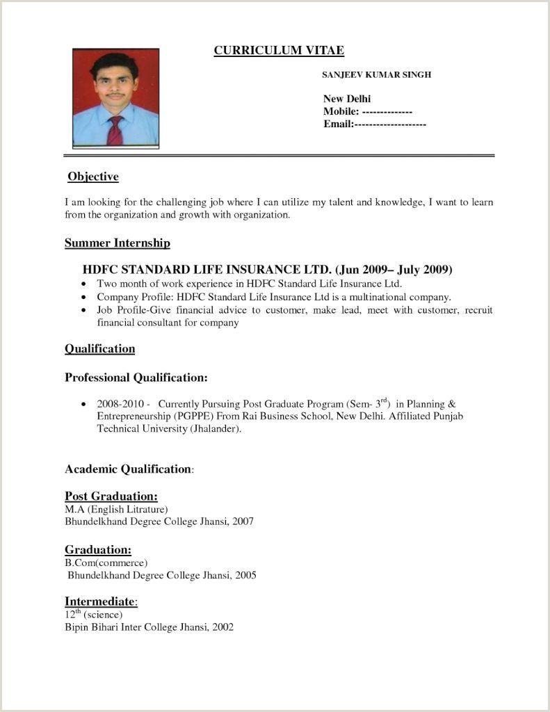 Fresher Resume Format For Job B Pharmacy Resume Format For Freshers