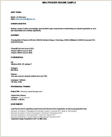 Fresher Resume Format For Job Interview Sample Mba Resume 7 Examples In Word Pdf