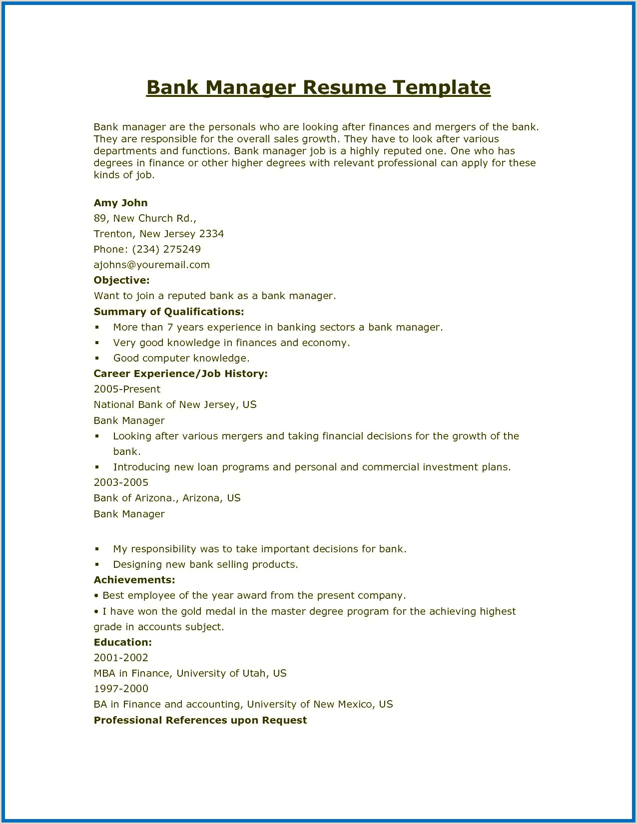 Fresher Resume Format For Job Resume Format For Bank Jobs Curriculum Vitae Banking Pdf