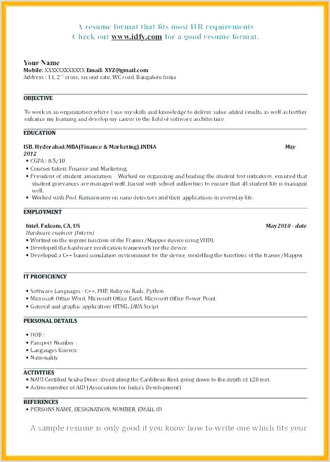 Fresher Resume format for Job Sample Resume format for Mba Finance Freshers