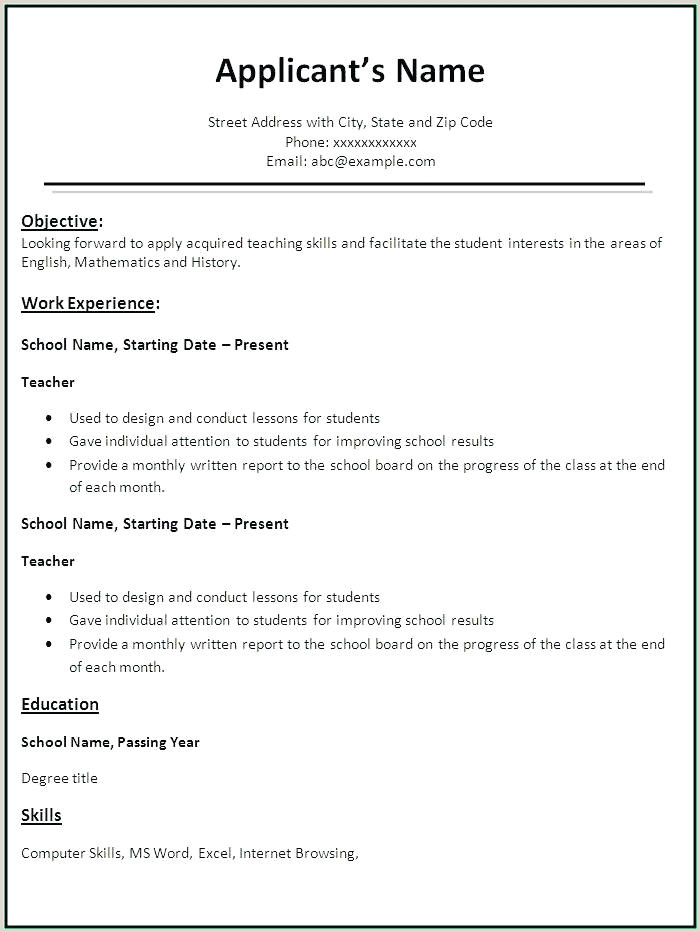 Fresher Resume Format For Lecturer Post Simple Resume Format For Freshers – Wikirian