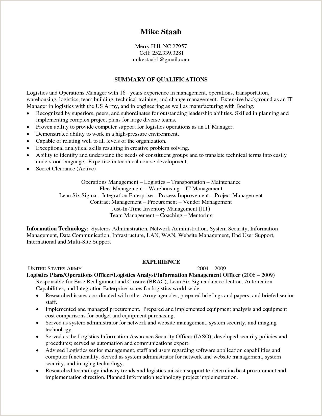 Fresher Resume format for Logistics Senior Logistic Management Resume