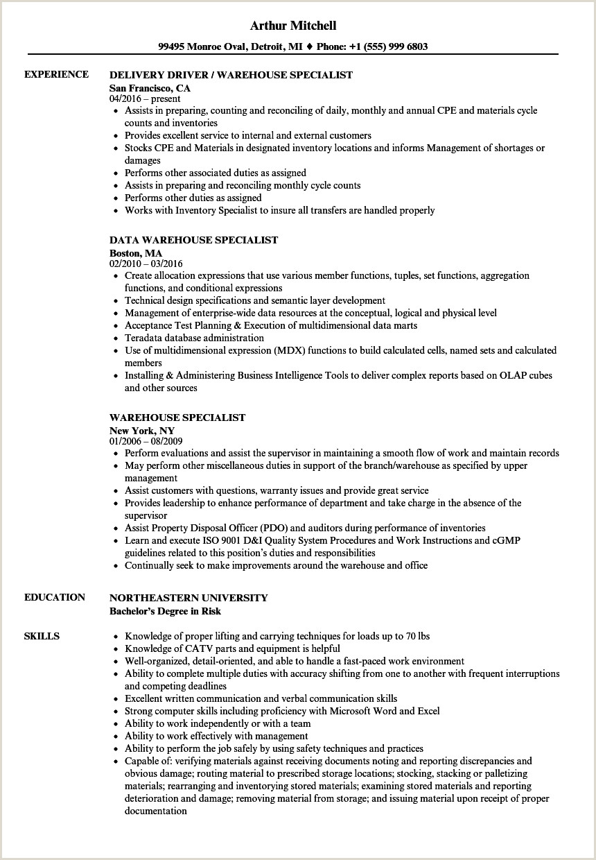 Fresher Resume Format For Logistics Warehouse Specialist Resume Samples