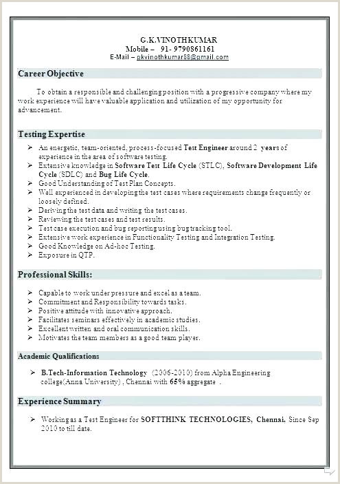 Fresher Resume format for Manual Testing Freshers Resume Samples – Growthnotes