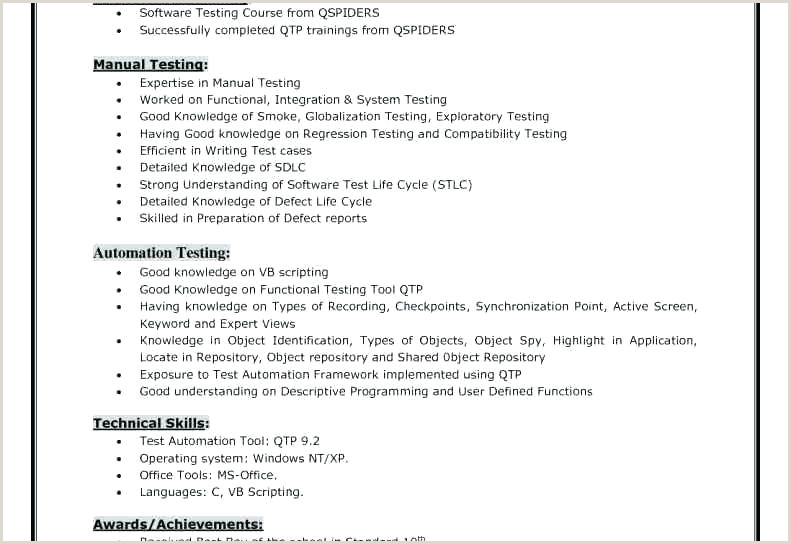 Fresher Resume format for Manual Testing It Tester Sample Resume – Ruseeds