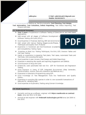 Fresher Resume format for Manual Testing Manual Testing Experienced Resume 1
