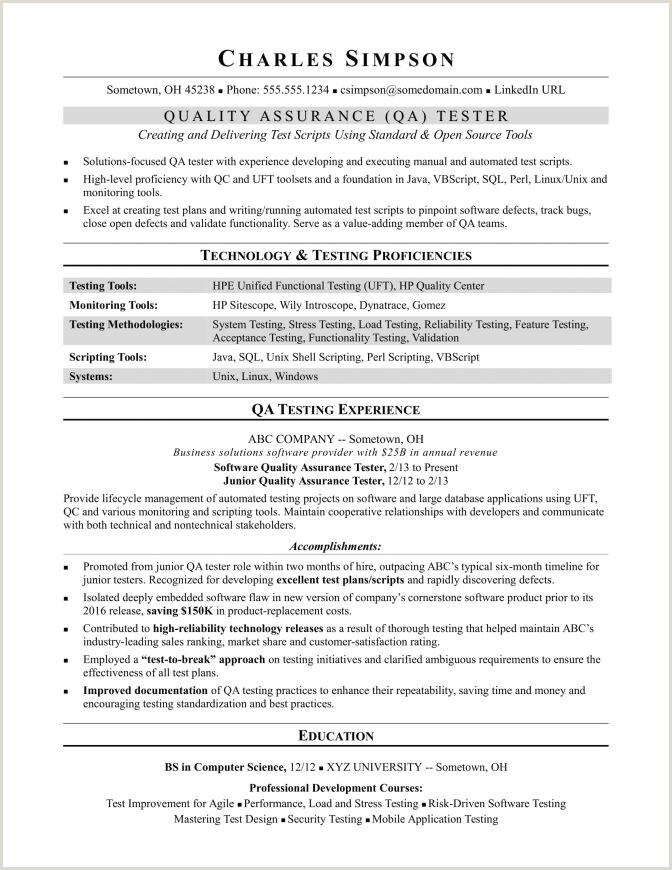 Fresher Resume Format For Manual Testing Qa Manual Tester Sample Resume Testing For 2 Years