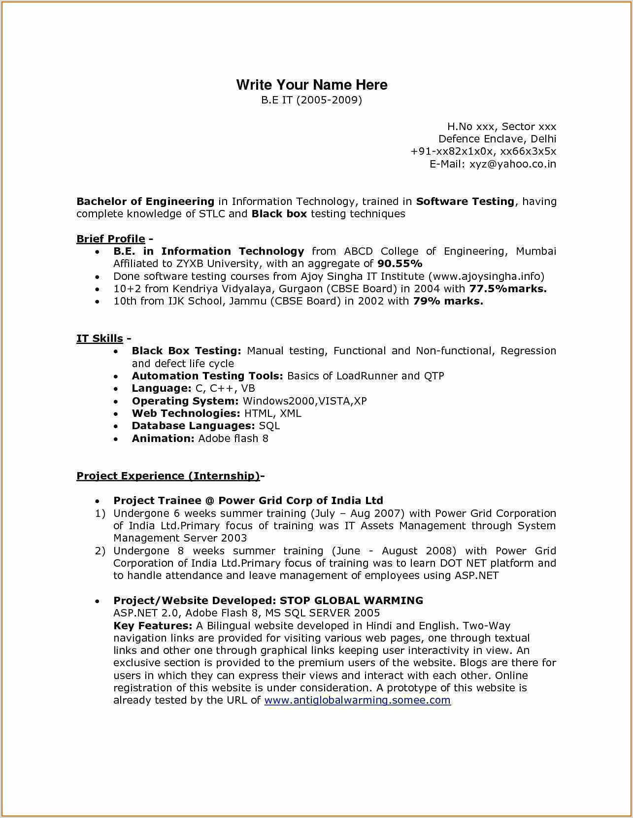Fresher Resume Format For Manual Testing Web Developer Resume Example – Admin Linda