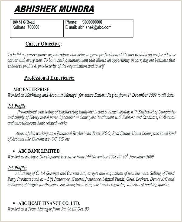 Fresher Resume format for Marketing Resume Templates Job Objective format Career Template Sample