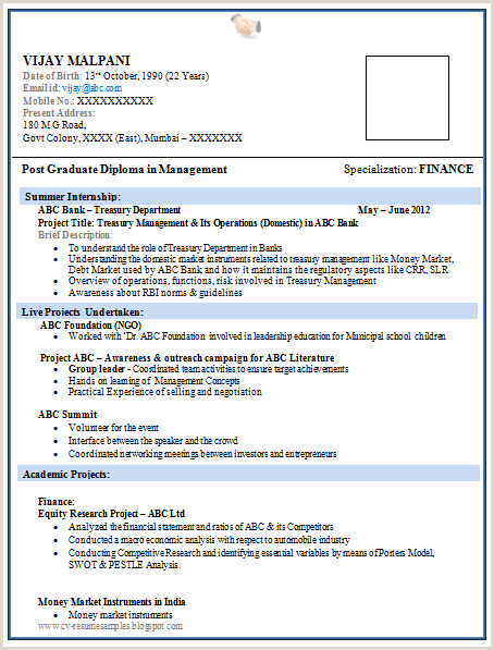 Fresher Resume format for Mba Finance 1 Page Resume format for Freshers Resume format