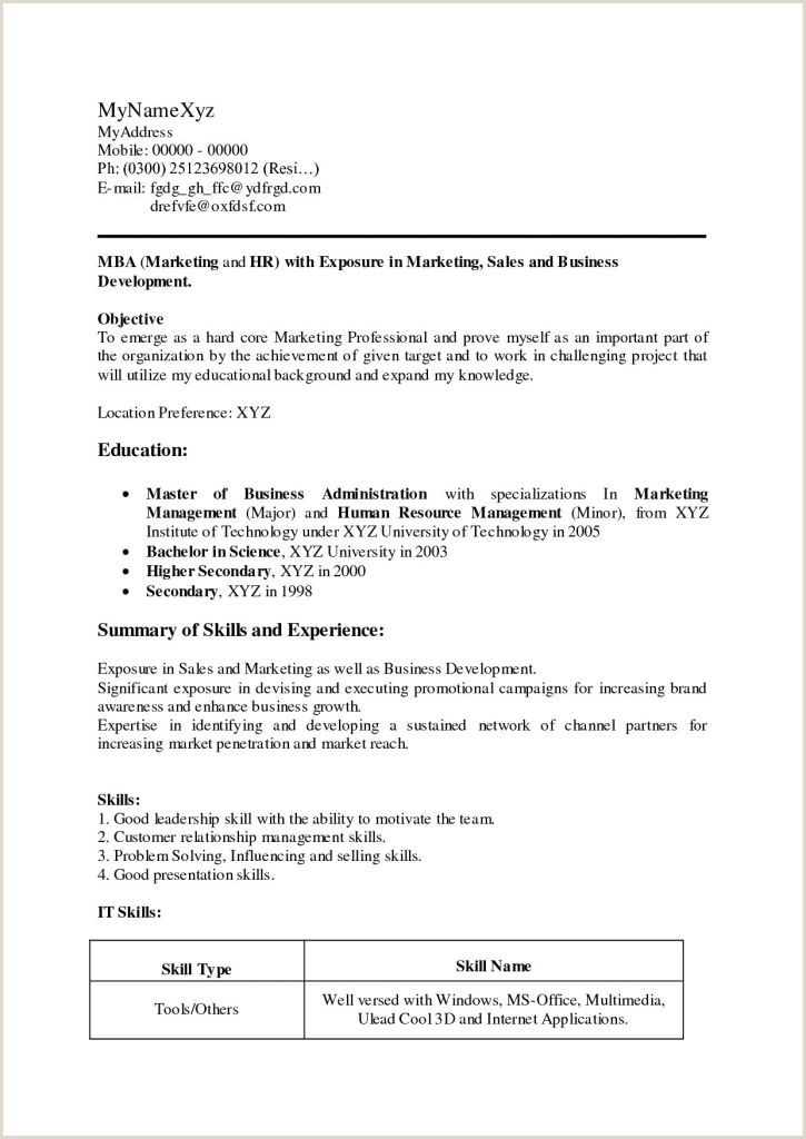 Fresher Resume format for Mba Marketing Mba Resume Sample Pdf New Career Objective for Mba Marketing