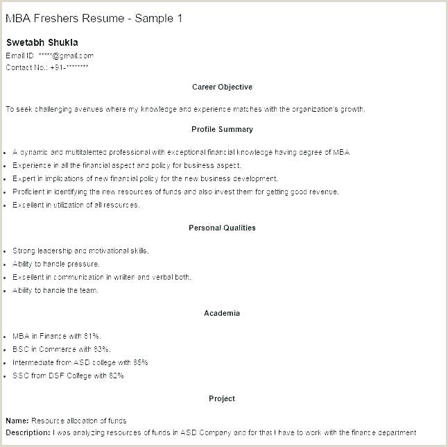 Fresher Resume format for Mba Marketing Sample Resume format for Mba Finance Freshers