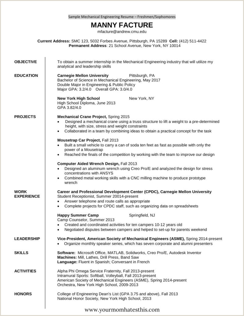 Fresher Resume Format For Mechanical Engineers Resume Templates For Freshers Free Mba Hr Attractive