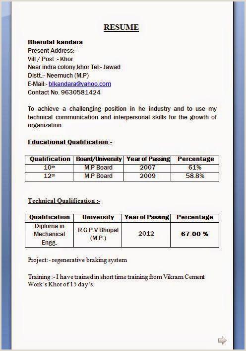 Fresher Resume format for Msc Chemistry Resume format 10th Pass format Resume Resumeformat