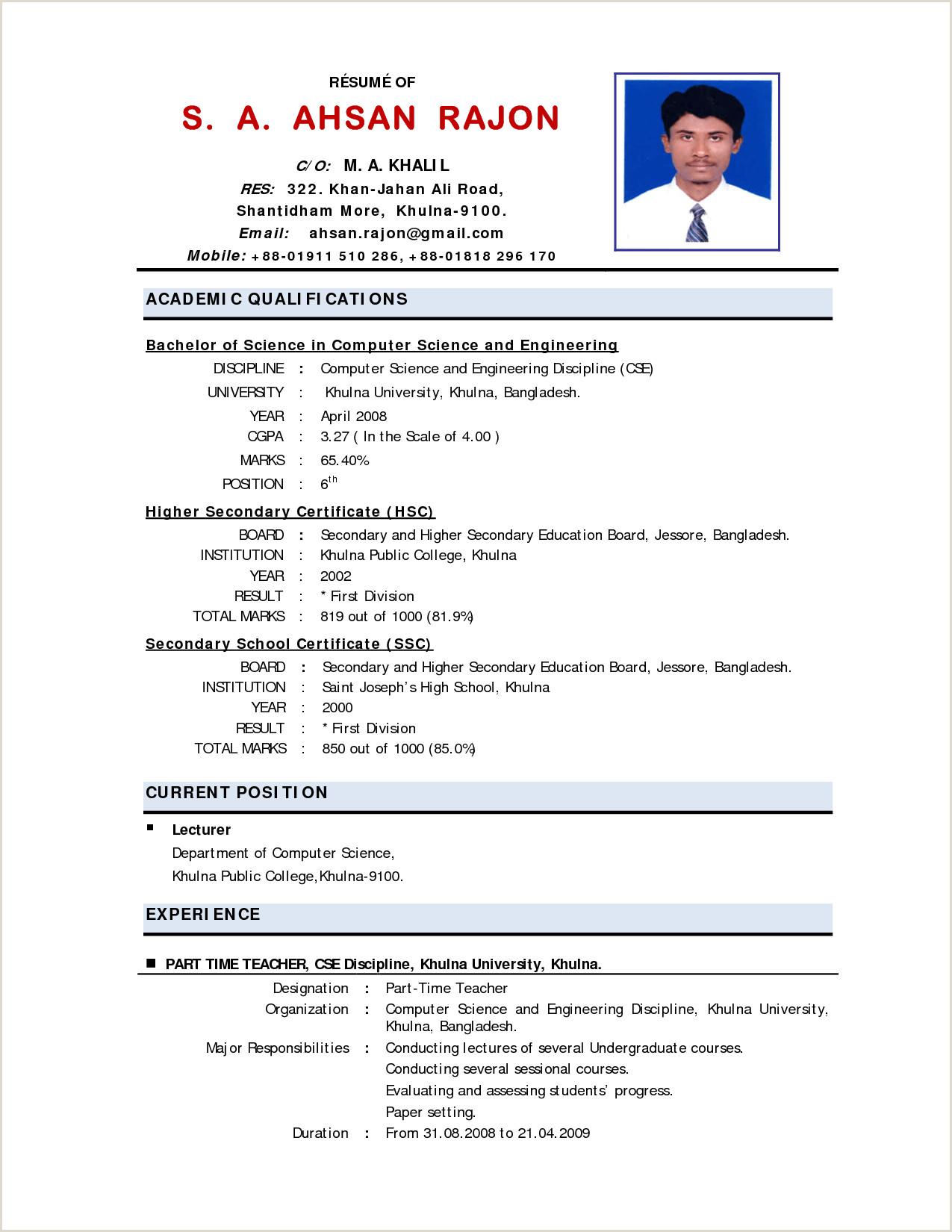 Fresher Resume format for Msc Chemistry Resume format Experienced Engineers Puter Science Style