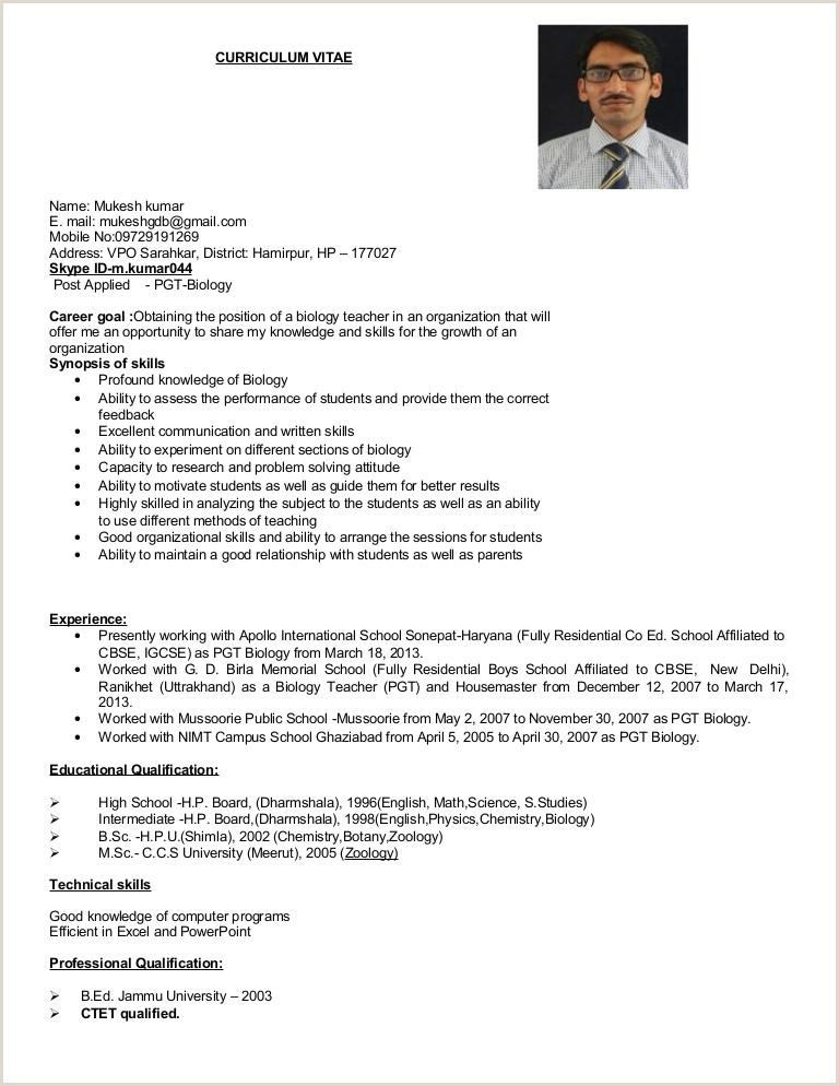 Fresher Resume format for Msc Chemistry Resume format for Msc Zoology Resume format