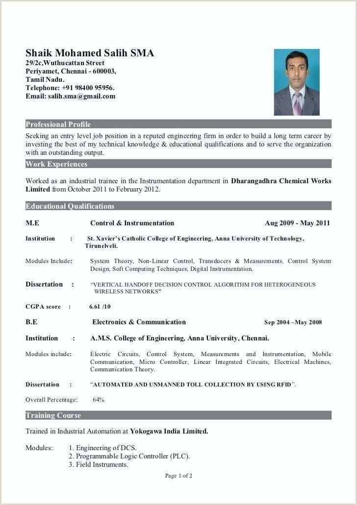 Fresher Resume format for Msc Chemistry Resume In Pdf format – Paknts