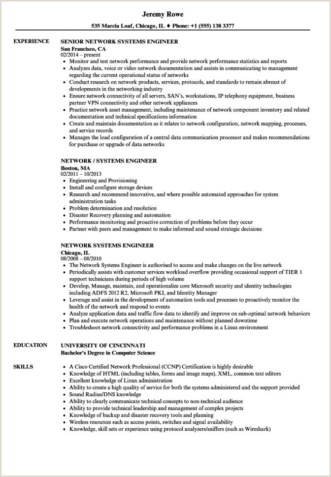 Fresher Resume format for Networking Cisco Engineer Resume Sample Network Free Pdf Cv Samples