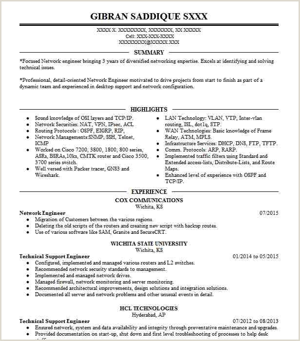 Fresher Resume format for Networking Network Engineer Resume Sample Technical Resumes