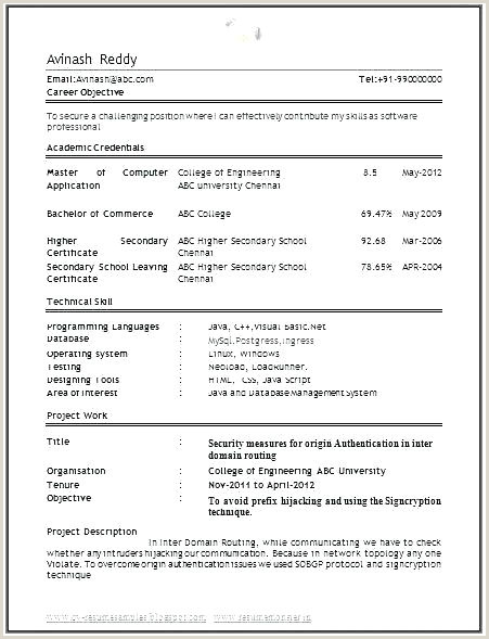 Fresher Resume Format For Networking Puter Engineering Student Resume – Thrifdecorblog