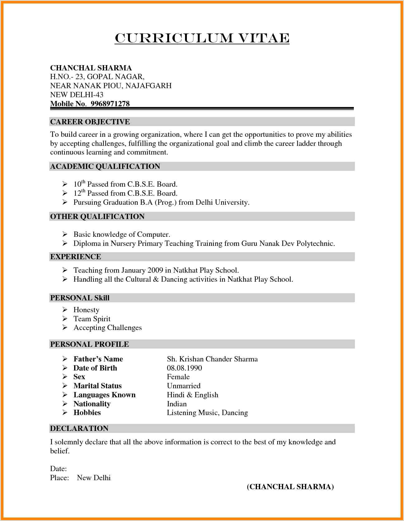 Fresher Resume Format For Primary Teacher 10 Indian Teacher Resume Format