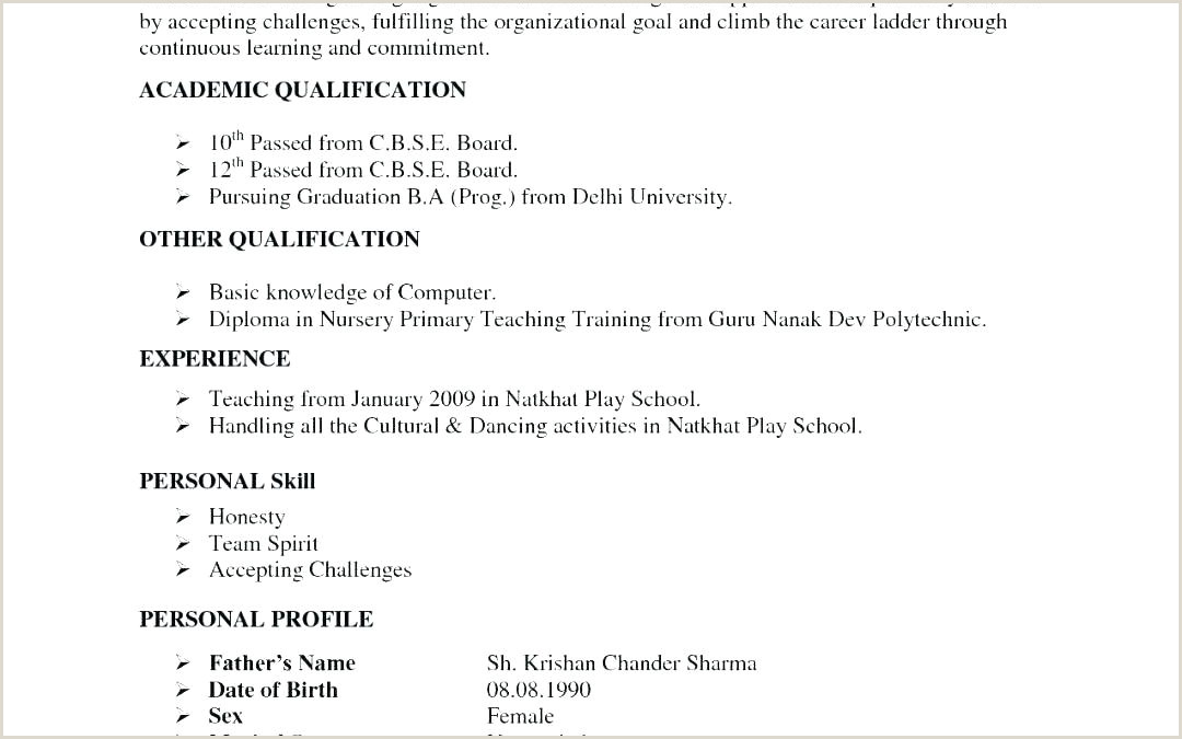 Fresher Resume Format For Primary Teacher Format Of Resumes – Paknts