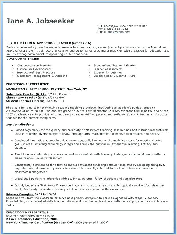 Fresher Resume Format For Primary Teacher New Teacher Resume Template
