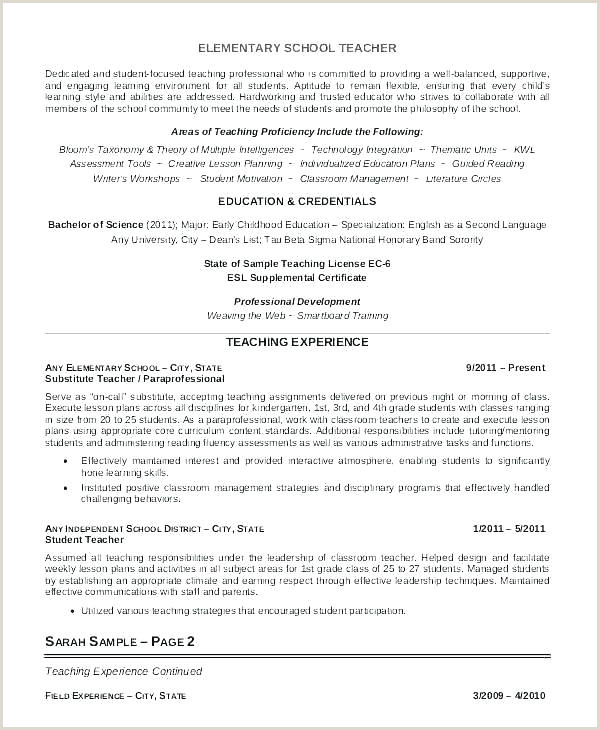 Fresher Resume Format For Primary Teacher Resume Template For Teaching Job