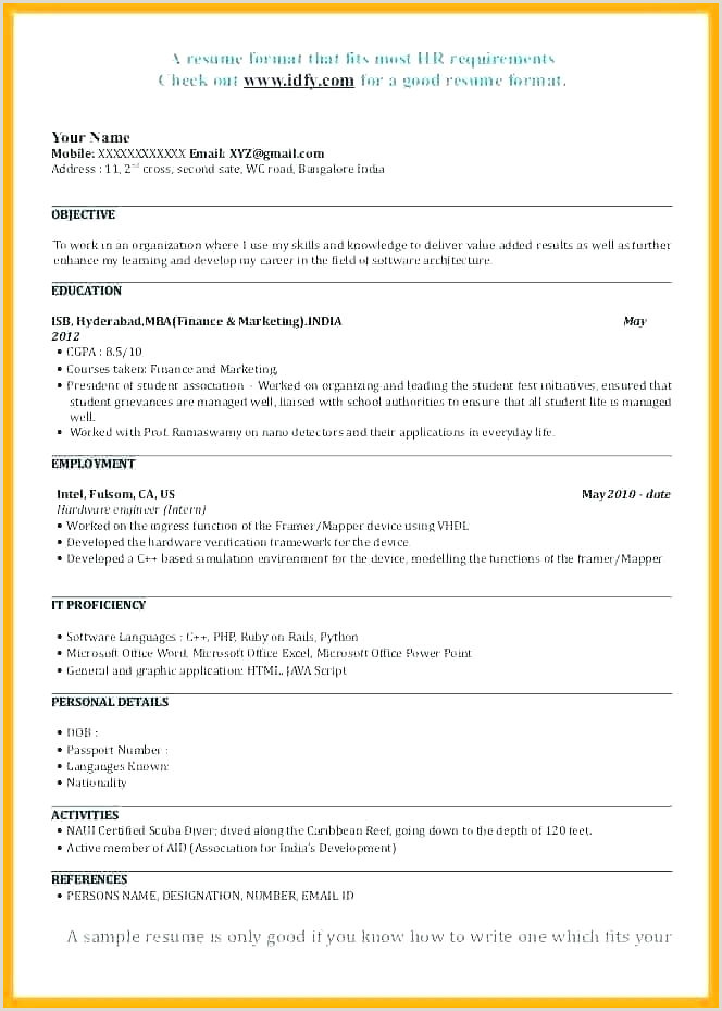 Fresher Resume format for Sales Executive Sample Resume format for Mba Finance Freshers