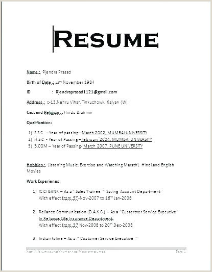 Fresher Resume Format For Sales Resume Format Job Format Resume Resumeformat – Admin Linda