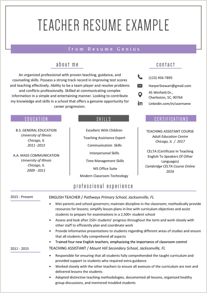 Fresher Resume format for School Teacher Resume Samples for Teacher Templates Cv Job Teaching