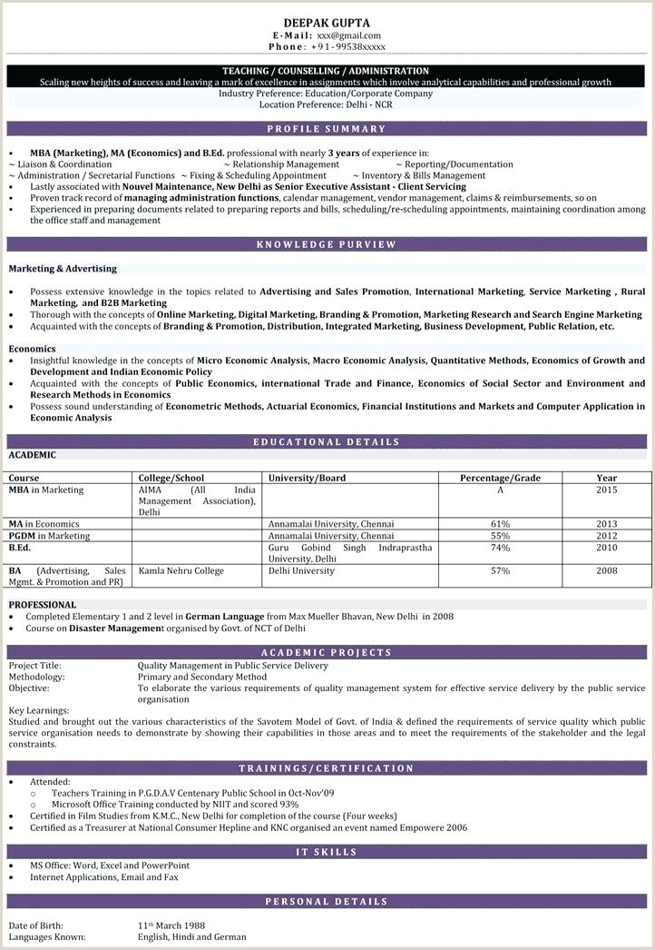Fresher Resume format for School Teacher Resume Teaching Job – Johnsimpson