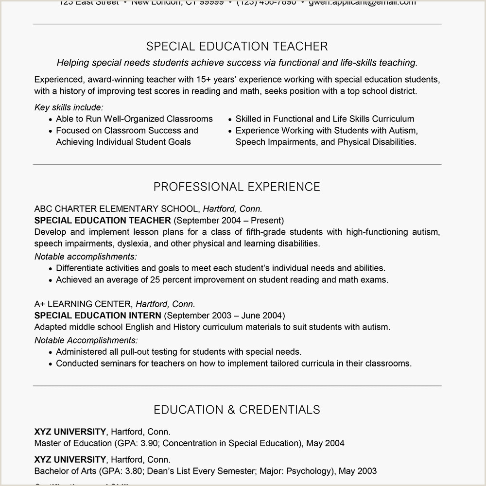 Fresher Resume format for School Teacher Special Education Teacher Resume Example