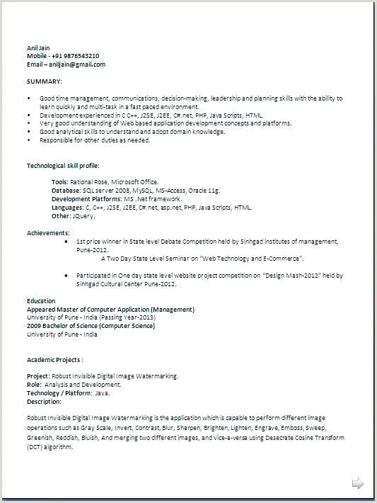 Fresher Resume format for software Developers 77 Java Freshers Resume Freshers Mca Resume Like Core