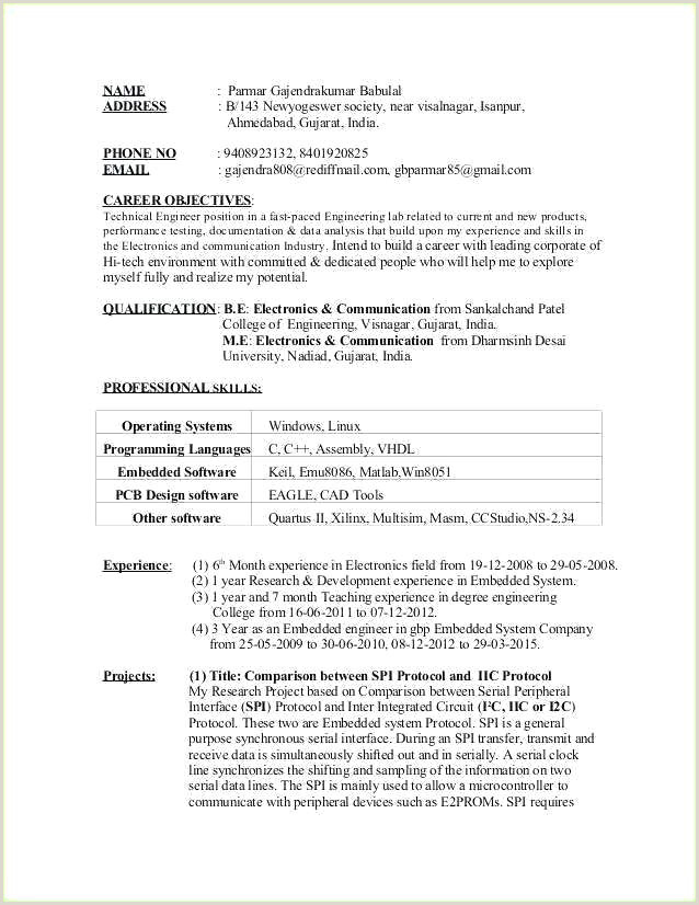 Fresher Resume format for software Developers Embedded software Developer Sample Resume – Podarki