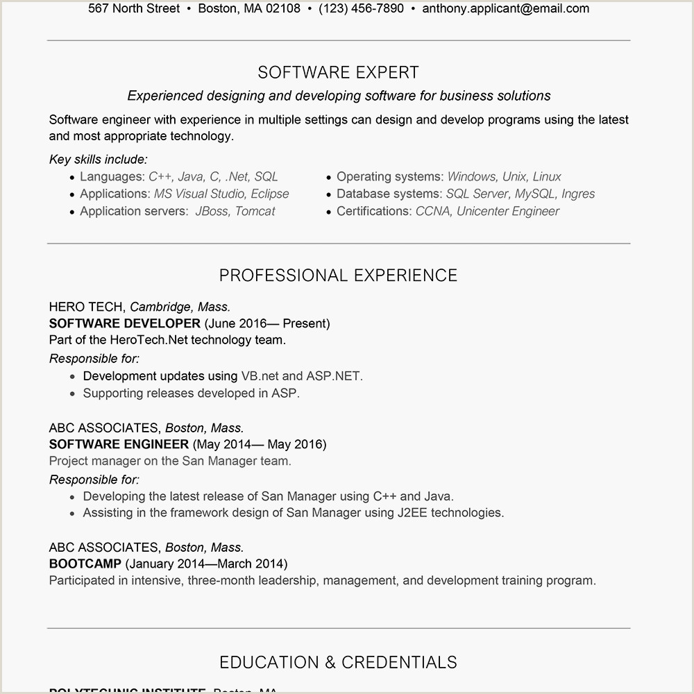 Fresher Resume format for software Developers software Developer Cover Letter and Resume Example