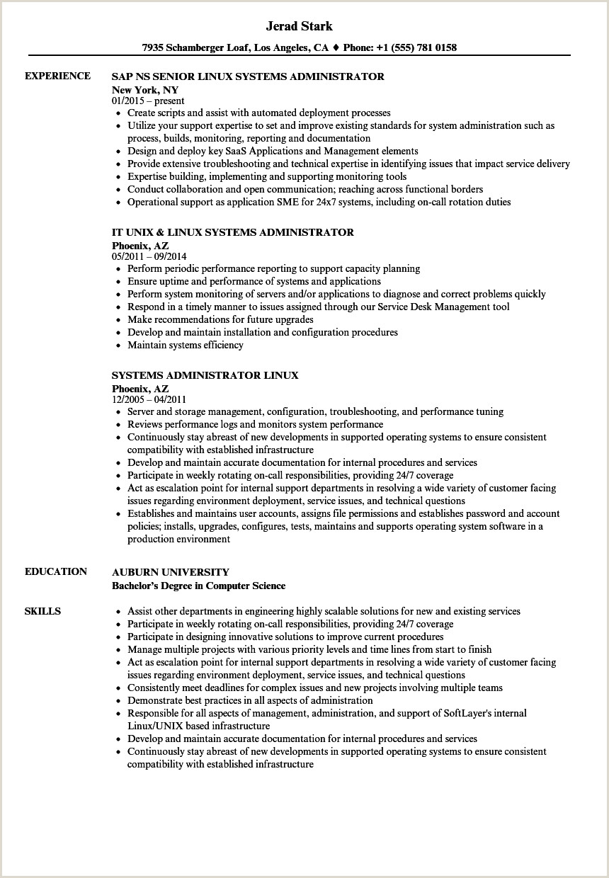 Fresher Resume format for System Administrator 12 13 Linux System Admin Resume Samples