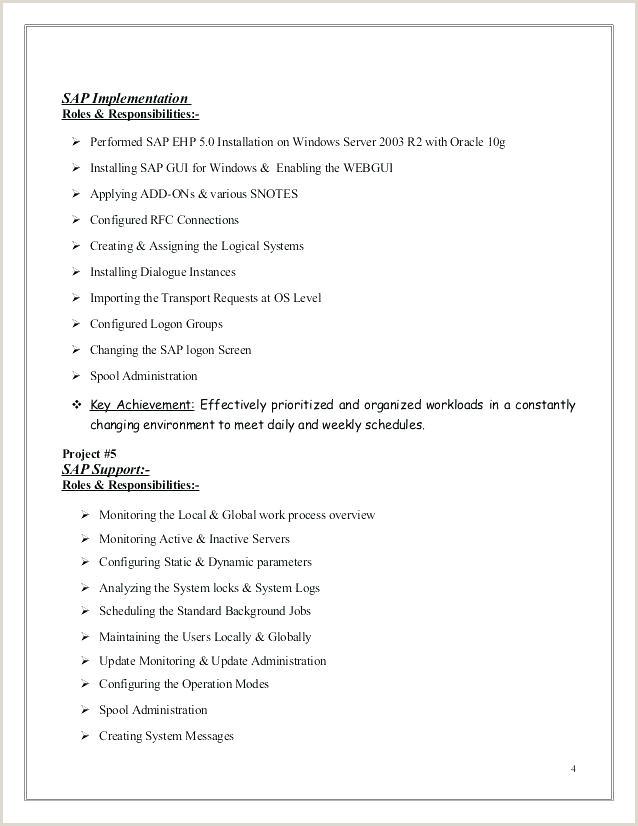 Fresher Resume format for System Administrator Sap Sample Resumes – Cocinacolibri