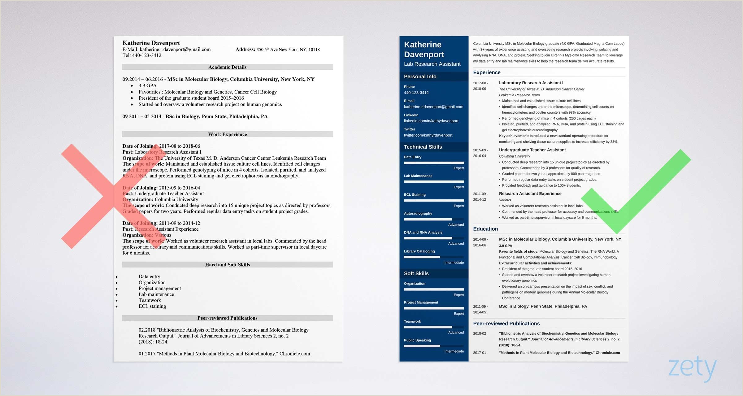 Fresher Resume format for Teacher Research assistant Resume Sample & Writing Guide 20 Examples