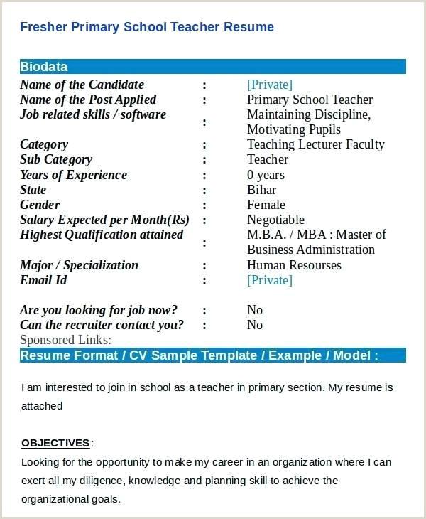 Fresher Resume format for Teacher Resume format for Teacher Job – Dstic