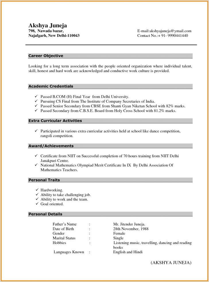 Fresher Resume Format For Teacher Teacher Resume Fresher Filename Cover Letter For It Job 10