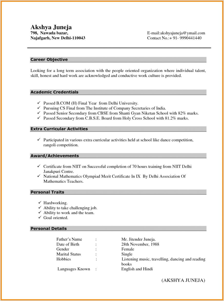 Fresher Resume Format For Teaching Job Teacher Resume Fresher Filename Cover Letter For It Job 10