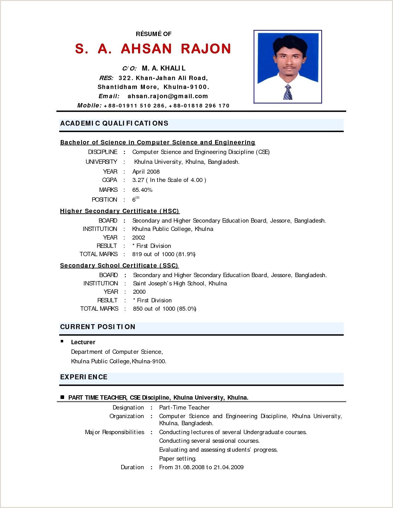 Fresher Resume Format For Teaching Resume Format Examples