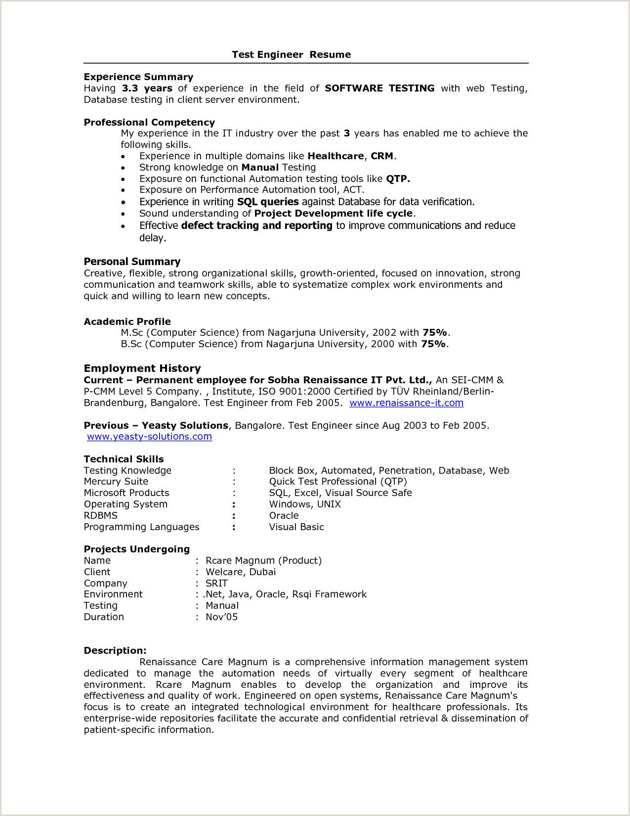 Fresher Resume format for Testing College Resume Samples